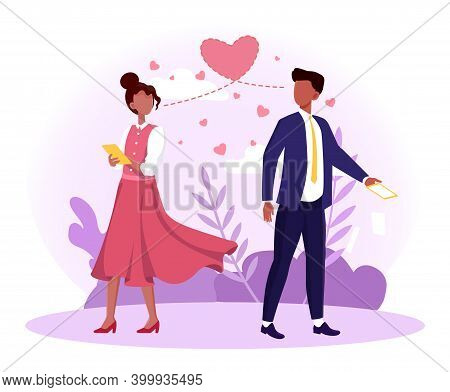 Man And Woman Falling In Love At First Sight. Male And Female Characters Saw Each Other On The City