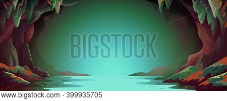 Cave - Vector Cartoon Background. Cavern Landscape With An Underground River In Greenish-blue Colors