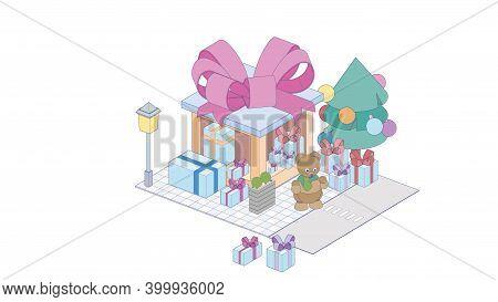 Isometric Giftbox Store On White Background. Modern Giftbox Storein Isometric Projection.