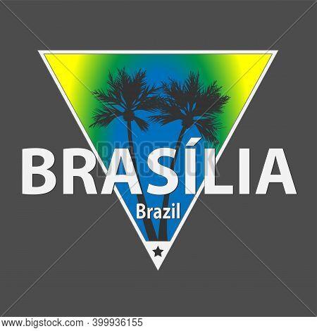 Bras Lia, Brazilian City Vector Tee Logo Poster Design