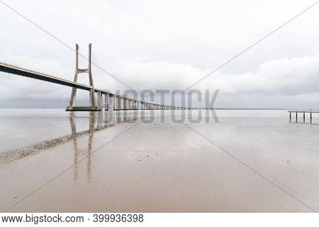 View Of The Vasco Da Gama Bridge In Lisbon