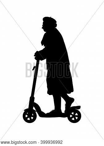 Silhouette Senior Woman Grandma On The Scooter. Illustration Symbol Icon
