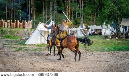 Cedynia, Poland June 2019 Historical Reenactment Of Battle Of Cedynia, Duel Or Sword Fight, Between