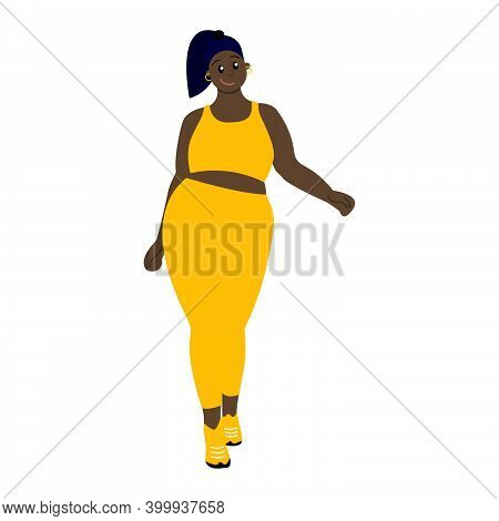 African Girl With Dark Hair. Black Young Woman With Pony Tail. Isolated On White. Body Positive Heal