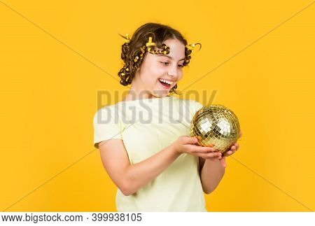 Lets Have Fun On Retro Party. Disco Ball Decoration. Lovely Girl With Disco Ball. Fashion Girl Pose