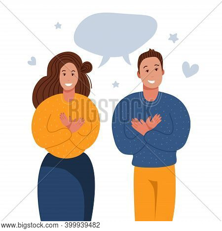 Grateful People Saying Thank You. Man And Woman Keeping Hands On Chest, Expresses Gratitude, Being T