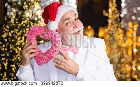 Charity And Kindness. Christmas Eve. Lovely Greetings. Senior Man Celebrate Christmas. Santa Claus.