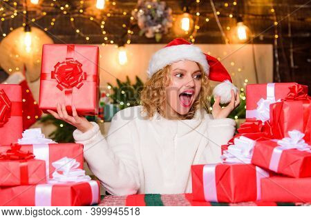 Thrilling Emotions. Merry Christmas And Happy New Year. Festive Mood. Wrapped Gifts. Happy Smiling A
