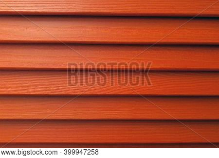 Wooden Slats Of Blinds. Red Background. Siding Shutters Hardwood Shutters The Red Background Texture