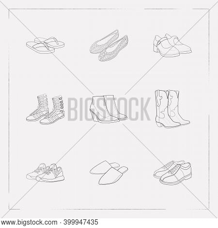 Set Of Footwear Icons Line Style Symbols With Flip Flops, Trainer Shoes, Mary Janes And Other Icons