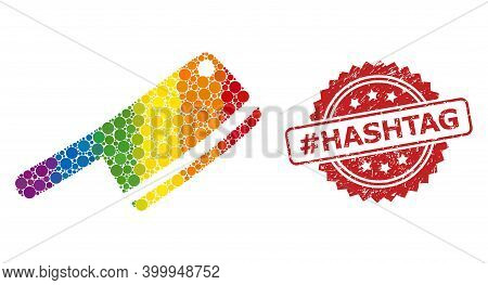 Butchery Knife Collage Icon Of Round Blots In Different Sizes And Lgbt Bright Color Tones, And Hasht
