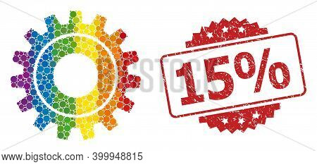 Cog Mosaic Icon Of Spheric Items In Variable Sizes And Lgbt Colorful Color Tints, And 15 Percent Tex