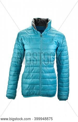 Blue puffer jacket on invisible mannequin isolated on white background