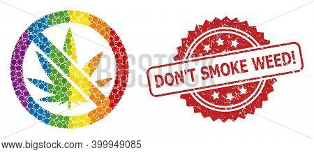 Forbidden Cannabis Collage Icon Of Circle Dots In Various Sizes And Spectrum Color Tints, And Don T