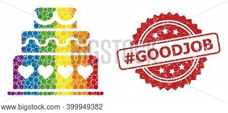 Marriage Cake Collage Icon Of Filled Circle Dots In Various Sizes And Spectrum Color Tinges, And Has