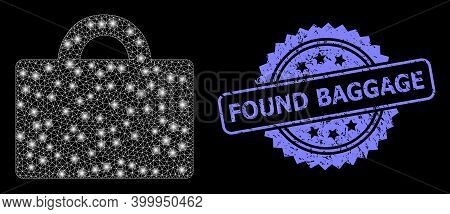 Glare Mesh Web Baggage With Light Spots, And Found Baggage Grunge Rosette Seal Imitation. Illuminate