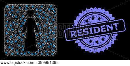Glare Mesh Web Bride With Lightspots, And Resident Textured Rosette Stamp Seal. Illuminated Vector M