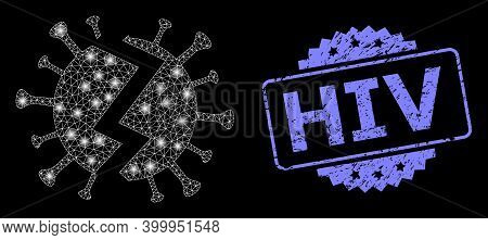 Glowing Mesh Network Broken Virus With Light Spots, And Hiv Dirty Rosette Stamp. Illuminated Vector