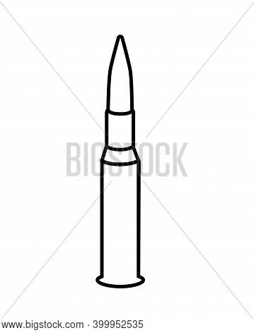 Cartridge For Weapons - Vector Linear Picture For Coloring Or Pictogram. A Bullet With A Charge And
