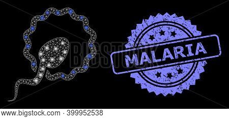 Glowing Mesh Net Cell Insemination With Glowing Spots, And Malaria Rubber Rosette Watermark. Illumin