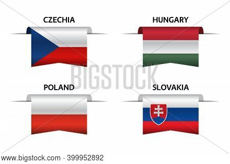 Set Of Four Czech, Hungarian, Polish And Slovak Ribbons. Made In Czech Republic, Made In Hungary, Ma