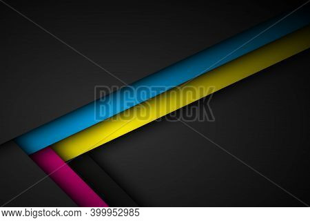 Abstact Vector Background With Lines In Cmyk Colors. Triangle Overlap Layers On Black Background Wit