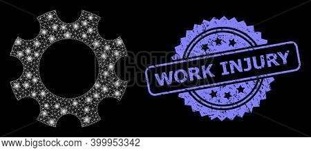 Glare Mesh Network Cogwheel With Glowing Spots, And Work Injury Rubber Rosette Stamp Seal. Illuminat
