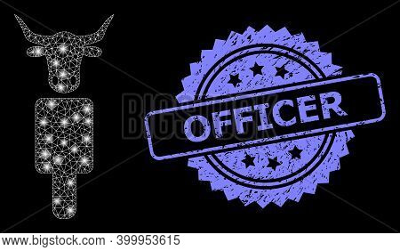 Glare Mesh Network Cow Man With Lightspots, And Officer Unclean Rosette Seal Print. Illuminated Vect