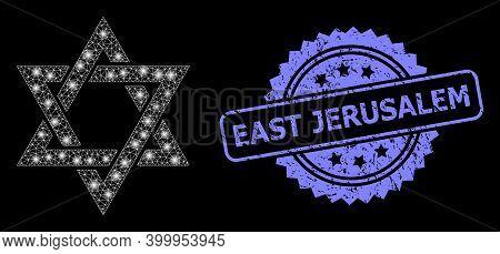 Shiny Mesh Network David Star With Light Spots, And East Jerusalem Scratched Rosette Seal. Illuminat