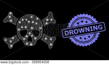Bright Mesh Net Death Skull With Lightspots, And Drowning Corroded Rosette Seal Imitation. Illuminat