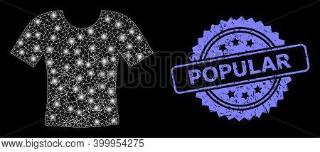 Glowing Mesh Network Dirty T-shirt With Lightspots, And Popular Corroded Rosette Stamp. Illuminated