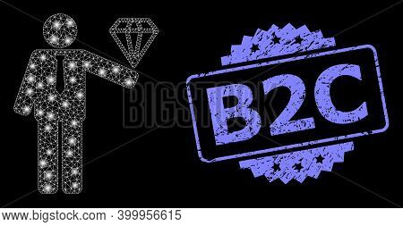 Glare Mesh Network Groom Diamond With Light Spots, And B2c Textured Rosette Seal. Illuminated Vector