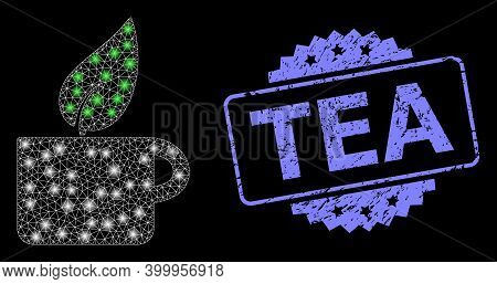 Bright Mesh Network Herbal Tea With Lightspots, And Tea Dirty Rosette Stamp Seal. Illuminated Vector