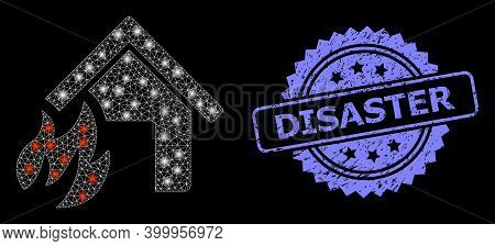 Glare Mesh Web House Fire Disaster With Light Spots, And Disaster Dirty Rosette Stamp Seal. Illumina