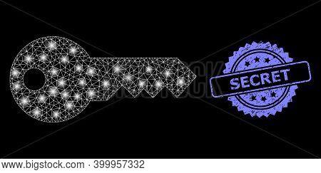 Glare Mesh Network Key With Lightspots, And Secret Dirty Rosette Seal Imitation. Illuminated Vector