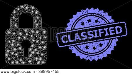 Glare Mesh Web Lock With Light Spots, And Classified Unclean Rosette Stamp Seal. Illuminated Vector