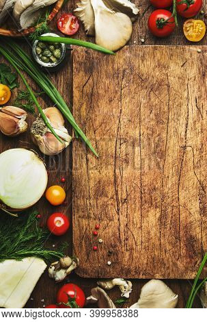 Food Cooking Background, Ingredients For Preparation Vegan Dishes, Vegetables, Roots, Spices, Mushro