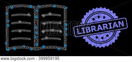 Glowing Mesh Net Open Book With Glowing Spots, And Librarian Rubber Rosette Stamp Seal. Illuminated