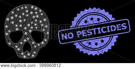 Shiny Mesh Web Skull With Light Spots, And No Pesticides Dirty Rosette Stamp Seal. Illuminated Vecto