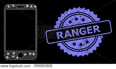 Glowing Mesh Network Smartphone With Glowing Spots, And Ranger Textured Rosette Stamp. Illuminated V
