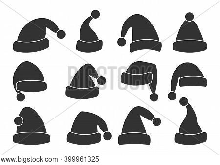 Christmas Santa Claus Hats Glyph Set. Black Template Holiday Caps. Traditional Accessory Of New Year