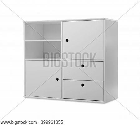 Stylish Empty Shelving Unit Isolated On White