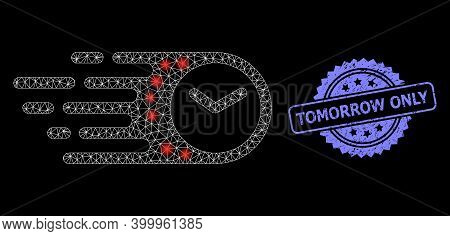 Shiny Mesh Web Speed Time With Glowing Spots, And Tomorrow Only Grunge Rosette Seal Imitation. Illum