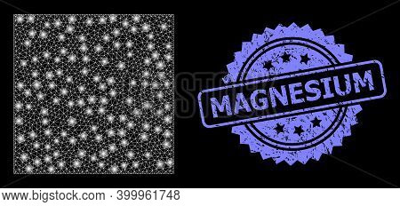 Bright Mesh Web Square Shape With Lightspots, And Magnesium Textured Rosette Stamp. Illuminated Vect