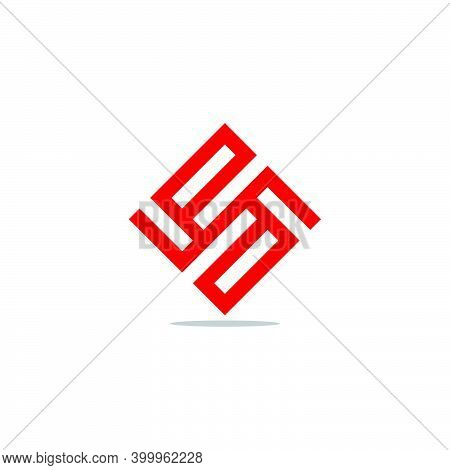 Letter Pd Abstract Square Geometric Square Shadow Logo Vector