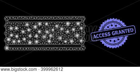 Bright Mesh Network Ticket Template With Glowing Spots, And Access Granted Grunge Rosette Stamp Seal