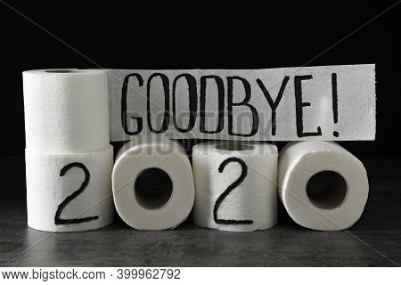 Text Goodbye 2020 Made With Toilet Paper On Grey Stone Background