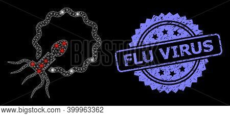 Glowing Mesh Net Virus Penetrating Cell With Glowing Spots, And Flu Virus Grunge Rosette Stamp Seal.
