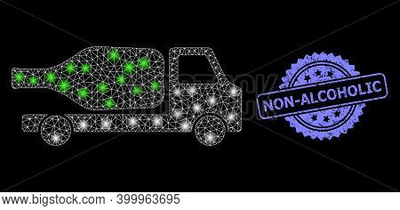 Glowing Mesh Web Wine Delivery With Glowing Spots, And Non-alcoholic Dirty Rosette Seal. Illuminated