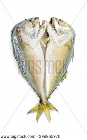 Two Thai Fish Mackerels Steamed Isolated On White Background